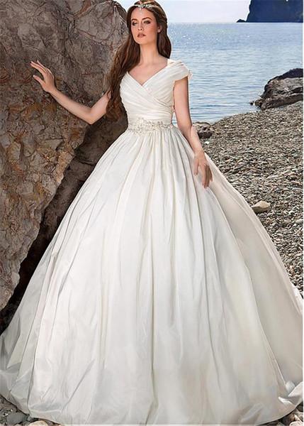 top popular Taffeta V-neck Neckline Ball Gown Wedding Dresses with Beaded Sash Lace Appliques Beach Bridal Gowns vestido de novia 2021