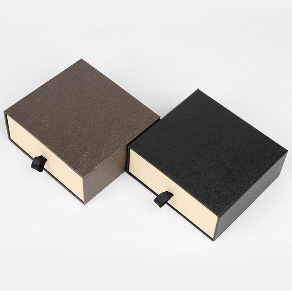 Drawer Style Belt Box Gift Storage Boxes Men Women Belt Waistband Organizer Gift Packaging Box (Black Brown)