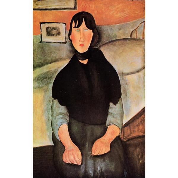 Handgemalte abstrakte Malerei Dunkle junge Frau von einem Bett sitzend Amedeo Modigliani Hochwertige Porträt Mädchen Ölgemälde