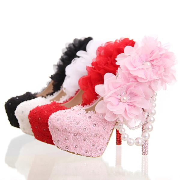 Belle scarpe da sposa in pizzo con appliques con strass Scarpe da festa tacco alto Scarpe da ballo per feste di compleanno Scarpe da damigella d'onore