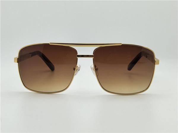 Men Square Attitude Gold Sunglasses Pilote Brown Len Outdoor Deisgn Sunglasses Sun Glasses Brand New with box