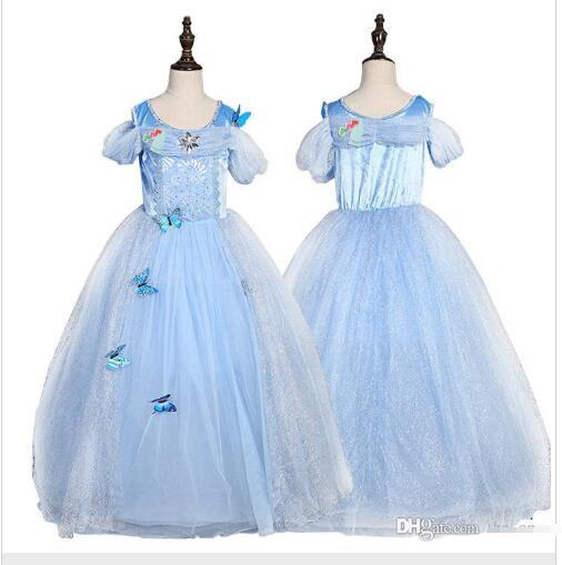 snowflake diamond cinderella dress fancy princess dress costumes for kids blue cinderella gown Halloween baby girl butterfly dress in stock