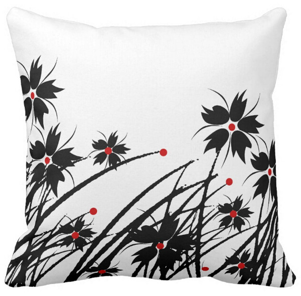 "1 Square Pillow Case Floral Red Black White 2 SET, Sofa Cushions Cover, ""16inch 18inch 20inch"", Pack of X"