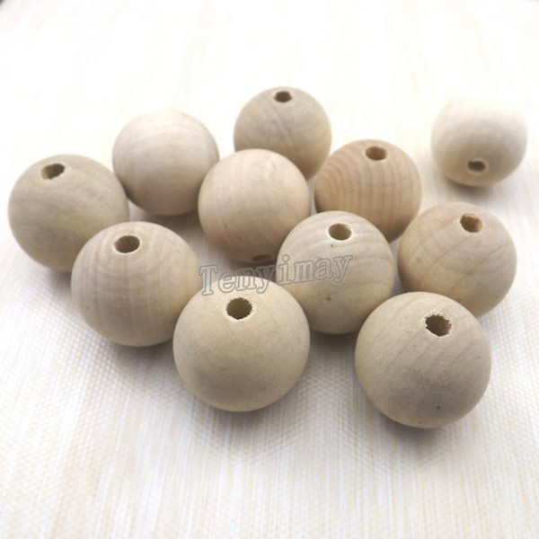 top popular 30mm Round Wood Beads Original Color For Paint DIY Fashion Wood Findings 100pcs Lot Free Shippng 2021