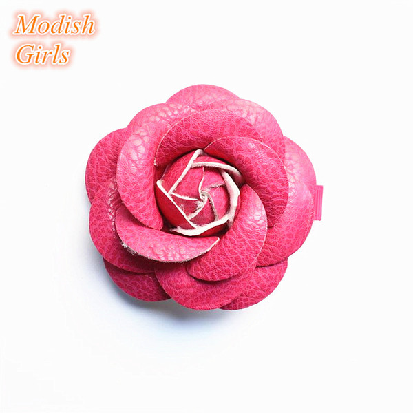 Without clips Artificial Leather Flower Design Gold Hair Accessories Kids Barrettes Famous Pink Rose Floral Hair Clips PU Leather Hairpins