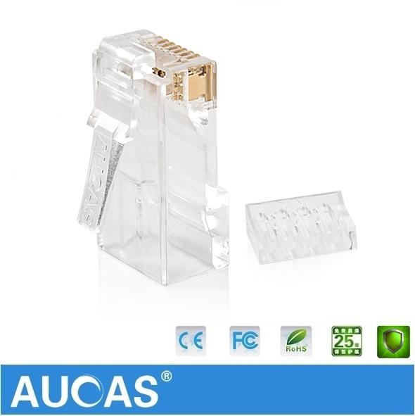 Wholesale- AUCAS UTP connector network cable plug 8P8C Network CAT6 Modular Plug Connector 2pcs suit Free Shipping