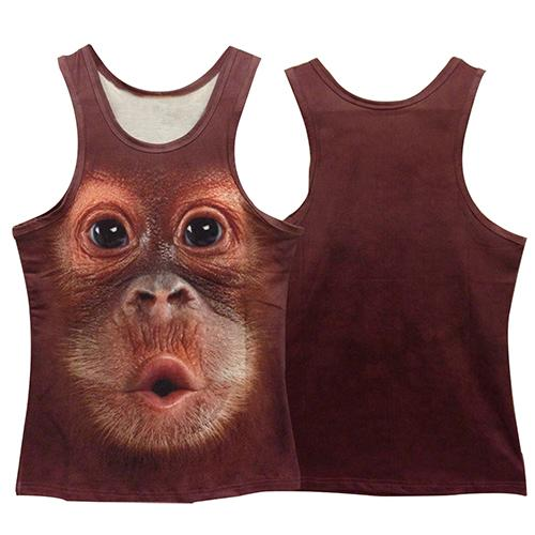 Wholesale- Men Summer Fashion Slim Vest 3D Monkey Animal Pattern Print Sleeveless O-Neck Top smt 87