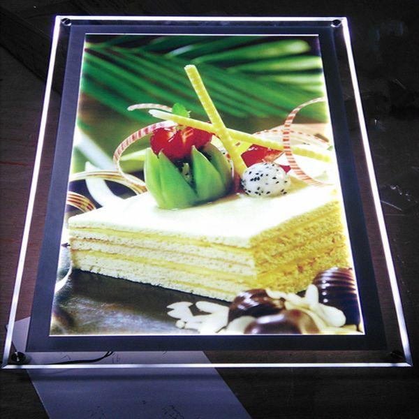 Acrylic led menu boards,restaurant wall mounted led illumnated menu signs,crystal frame advertising lightbox