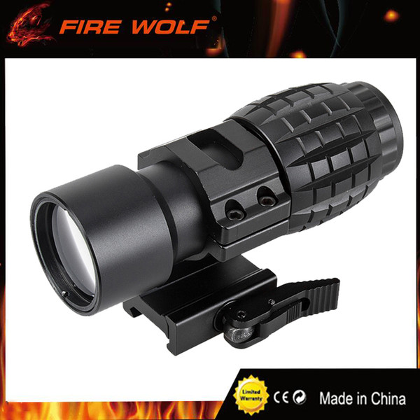 FIRE WOLF Tactical Red Dot Sight Scope 3x Magnifier Fits Dot Sight With Tactical 30mm Flip to Side 90 Degree Weaver Picatinny Mount Ring