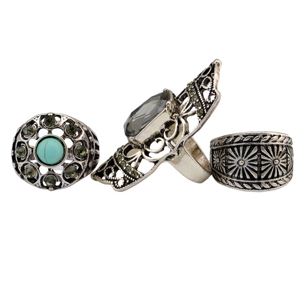 3pcs/set fashion vintage silver bronze turquoise joint knuckle nail crystal rhinestone midi ring set jewelry for women