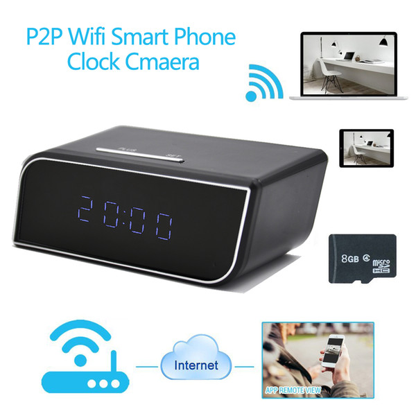 1080P HD IR Night Vision IP Wireless Table Alarm Clock Security Surveillance Motion Actived Nanny Camera With Loop recording.