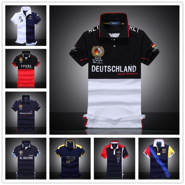top popular 2017 Hot Top Quality Team Racing Polo T Shirts Mens Short Sleeve Argentina Spain Brazil Italy Germany Cotton Embroidery Race Slim T-Shirt 2019