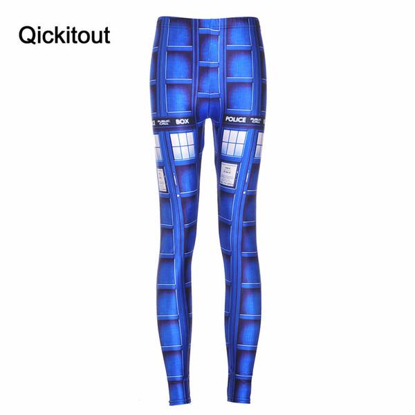 Atacado- estilos de verão Sexy Hot mulheres novas calças Womens calças moda azul Tardis HWMF Leggings impressão Pant Capris Fitness