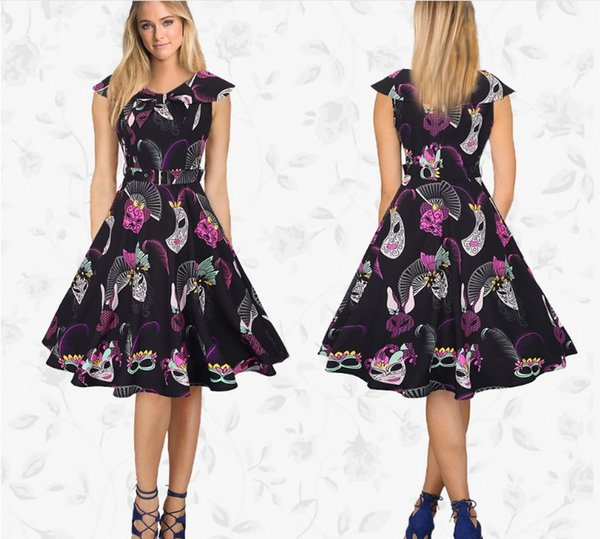 Art Style Contarst Color Printed Party Dress Short Sleeve Sailor Collar Vintage Large Swing A Line Dresses