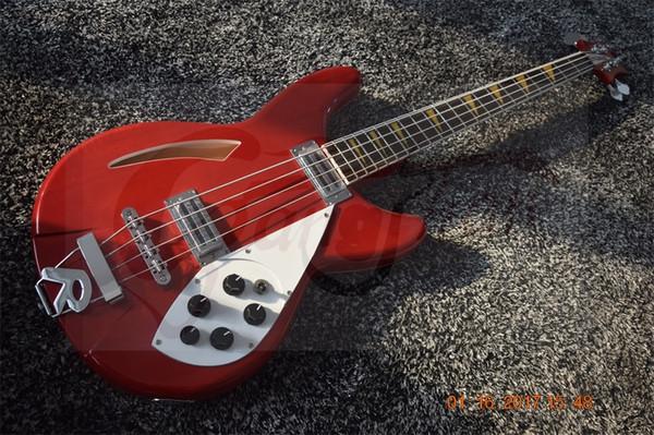 Rare 1966 RICK 4005 4 stringhe CS Bass Cherry Sunburst Fuoco Glo chitarra elettrica Semi Hollow Body Vintage triangolo giallo MOP Inlay