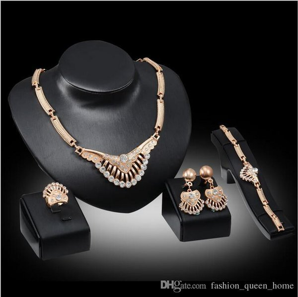12set talian fashion V-shaped necklace design Dubai golden plated jewelry sets Bridal wedding gold necklace bracelet earrings ring F10335