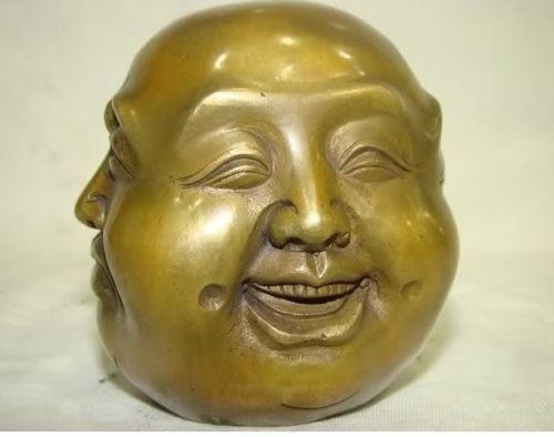 Латунь созданного человека повезло тибетской латуни четыре лица печать статуя головы Будды