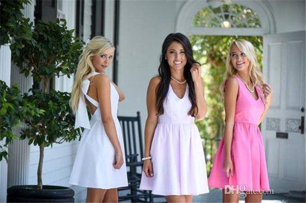 Nouvelle mode courte robes de demoiselle d'honneur Bow Cross Back col en V Taffetas Une ligne courte filles robes de soirée taille personnalisée