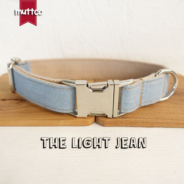 MUTTCO retailing self-design dog collar THE LIGHT JEAN handmade collar wathet blue and white 5 sizes dog collar UDC034