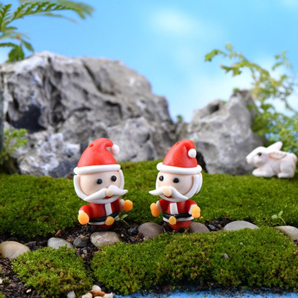 10pcs Christmas Santa Claus Figure Xmas Decor Fairy Garden Miniatures Bonsai Tools terrarium Dollhouse Ornament Zakka Gnome Home Accessories