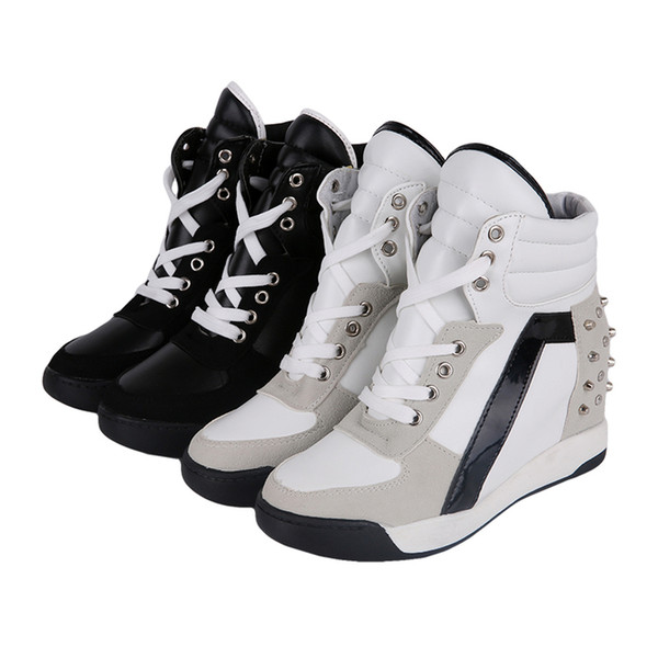 Ladies Women's Fashion Wedge Sneakers Hidden Heels Black White Rivetes hight increasing lace up Tennis Shoes