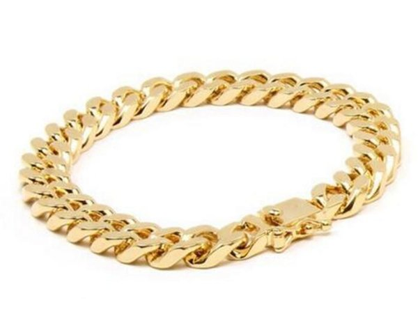 "Solid 14K Gold Miami Men's Cuban Curb Link Bracelet 8"" Heavy 98.7 Grams 12mm"