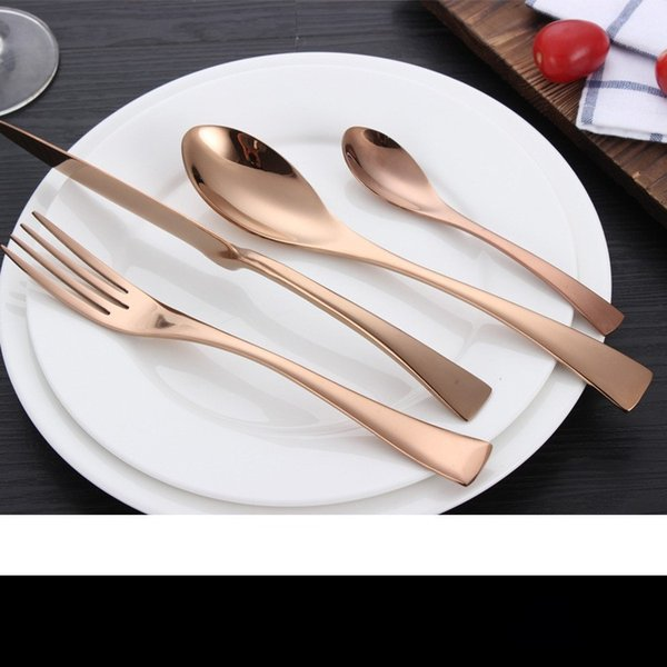 European Stainless Steel Tableware Set Rose Gold Knife Fork Spoon Suit Family Hotel High Grade Dishware Hot Sale 8 6yc J R