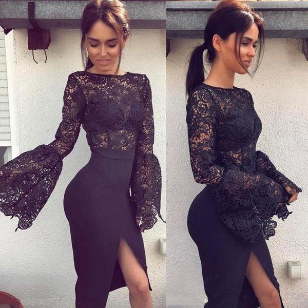 2017 sexy little black vestidos de cóctel joya cuello corto vestido de fiesta Longitud de la rodilla apliques frente partido partido