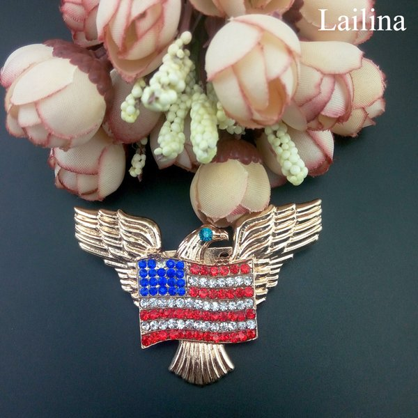 Gold Tone Patriotic Eagle Rhinestone USA America Flag Brooch Pin, Independence Day for July 4th