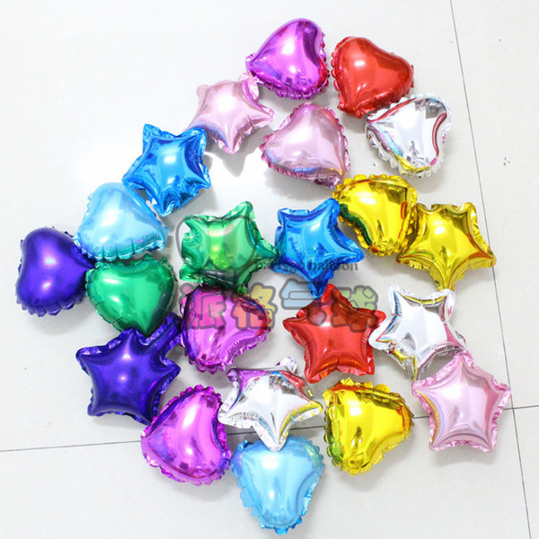Wholesale 100pcs/lot 5 inch Heart Shape Star Aluminum Foil Balloon FIve-Point Wedding Decoration Party Supplies helium balloon