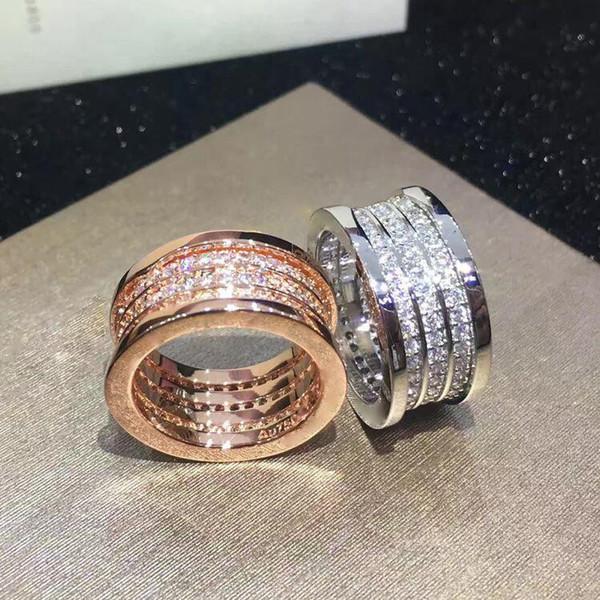best selling Elastic Rhinestone Rings of 3 layers Whorl , Rose Gold  Silver Metal Colors Women Men Wedding Engagement Titanium Stainless Steel Jewelry