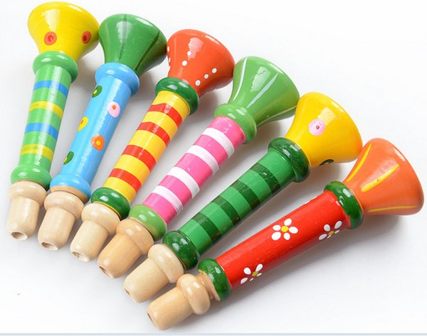 Manufacturers selling wooden children toy wooden trumpet playing whistle infant puzzle educational instrument