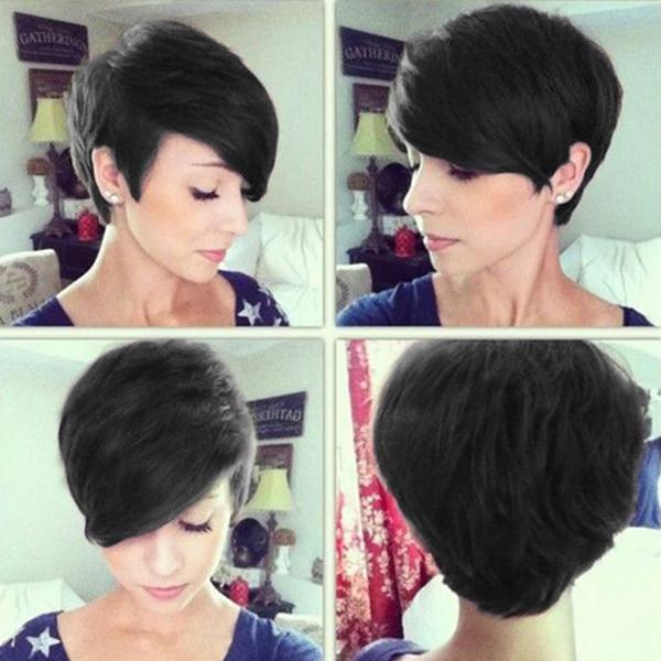 heiße verkaufende Schönheit kurze gerade Perücken mit Knallen Simulation menschlicher Haare kurz geschnitten Perücken für Frauen Verschiffen frei