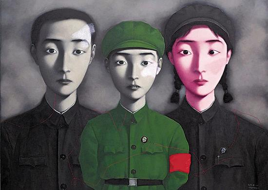 Framed,Lots Wholesale, Pure Handcraft portraits art Zhang Xiaogang oil painting on High Quality canvas & Cotton & linen Multi sizes,R185#