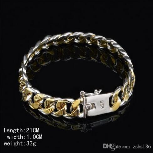 High quality Plated 925 silver Figaro chain bracelet Golden 10MMX20CM fashion jewelry for men free shipping