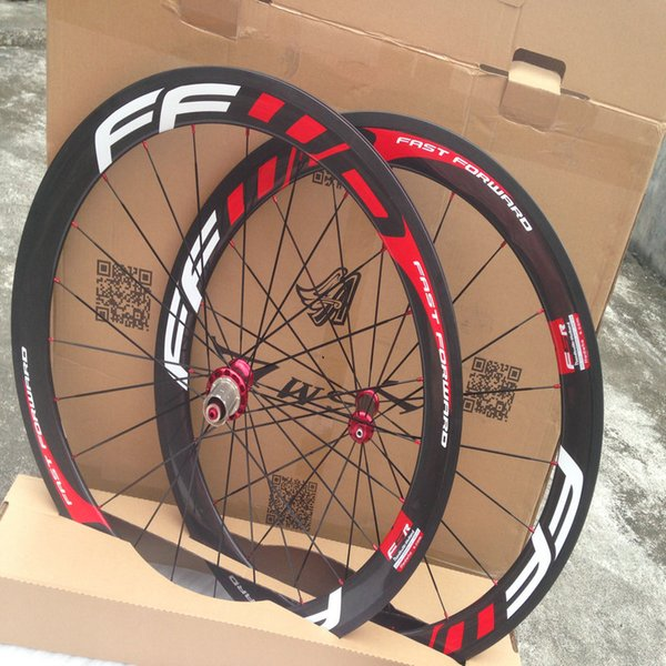 Hot sale 1k weave FFWD carbon bike wheels fast forward white red china bicycle carbon wheels with ceramic bearing hub wheels free shipping