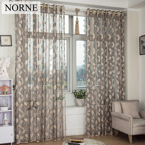 NORNE Modern Tulle Window Curtains For Living Room The Bedroom The Kitchen Cortina(rideaux)Leaves-Vine Lace Sheer Curtains Blinds Drapes