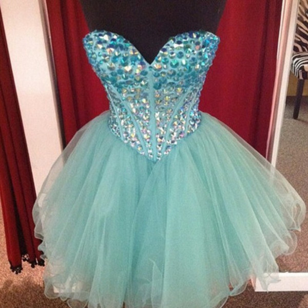 Cute Mint Crystal Puffy Homecoming Dresses Sweetheart Rhinestones Tulle Ball Gown Short Prom Dresses Lace Up Back