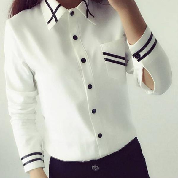 Wholesale- Korean Style Women Blouses Fashion 2017 Autumn Long Sleeve Sequin Chiffon Ladies Office Shirt White Blue Tops Formal