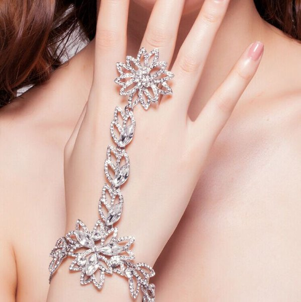 Luxury Rhinestone Flower Bridal Bracelets & Bangles Slave Chain Link Finger Wedding Crystal Wrap Bracelets Hand Chain Jewelry