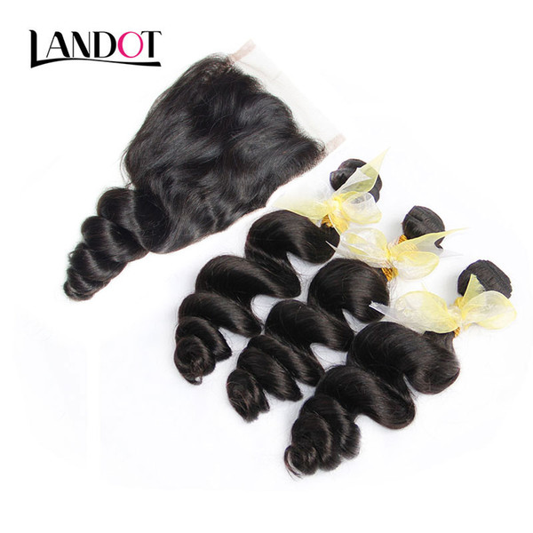 Brazilian Malaysian Peruvian Virgin Hair Weaves 3 Bundles with Lace Closure Loose Wave Curly 8A Indian Cambodian Remy Human Hair Closures