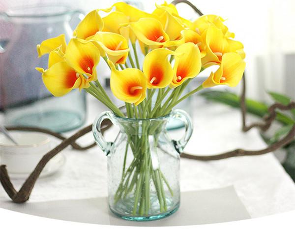 top popular 13 Colors Vintage Artificial Flowers Calla Lily Bouquets 34.5 CM 13.6 inch for Bridal Wedding Bouquet Decoration 2021