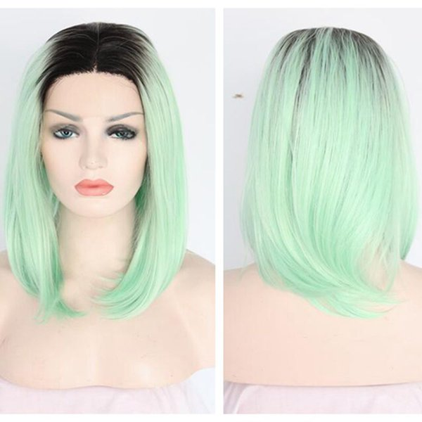cosplay glueless hair synthetic lace front wig mint green ombre hair dark roots bob straight heat resistant hiar wig