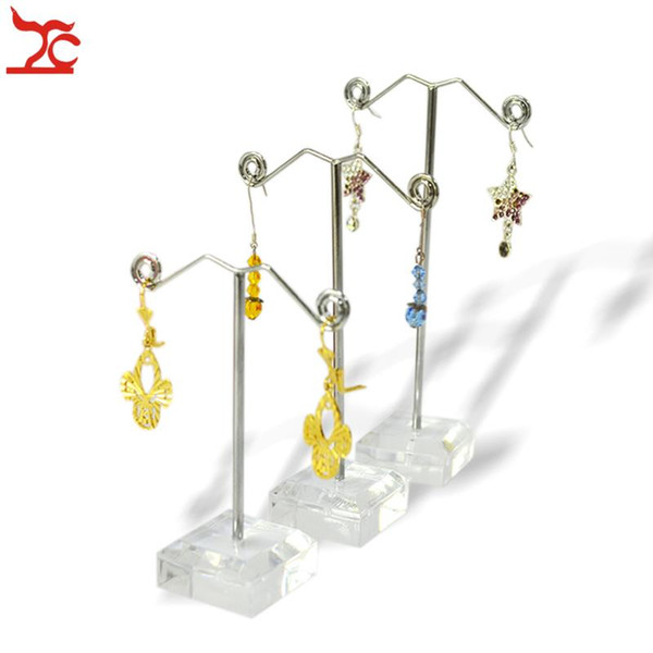 top popular 3pcs set Clear Black Acrylic Jewelry Display Stand Earring Hook Holder Metal Rack Frame (3pcs Height:13.5cm  11.5cm  9.5 cm)Free Shipping 2021