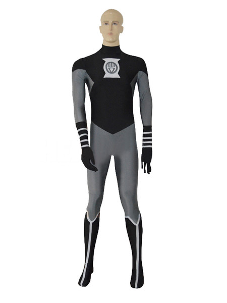Black Lantern Crops Spandex Superhero Costume Halloween Party Zentai Suit