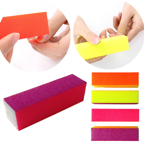 Wholesale- 10pcs/Lot Fluorescence Coloured 4 way Shine Tips Buffing Sanding Buffer Files Block Nail Art Manicure Set New Pro