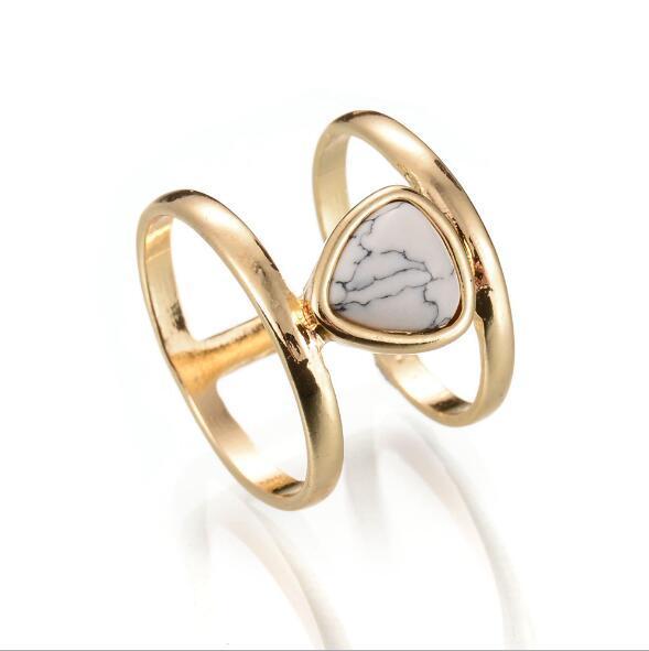 Moda goccia d'acqua blu bianco turchese anello retrò punk pietra naturale placcato oro anelli dichiarazione per le donne gioielli D0235