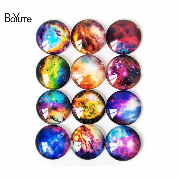 BoYuTe Cabochon Diy Accessories Parts for Jewelry Making 10 Sizes Mix Round Pattern Glass Stone Cabochon Starry Sky