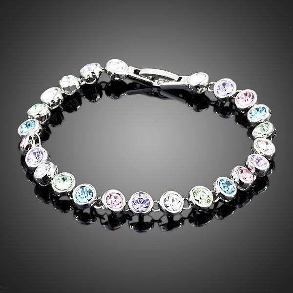 Neoglory Jewelry Swarovski Elements White Gold Color Stellux Austrian Crystal 24pcs Multicolour Round End to End Bracelet