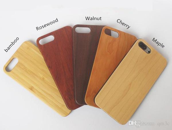 Caisses en bois pour Iphone 6 6 s 7 plus cas en bois couverture de téléphone Nature Caches en bambou Shell pour bord de Samsung Galaxy S5 S6 S7